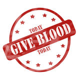 Red Weathered Give Blood Today Stamp Circle Stock Photos