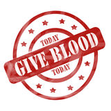 Red Weathered Give Blood Today Stamp Royalty Free Stock Photography