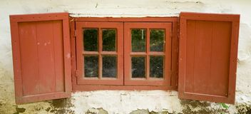 Red Weathered Window Royalty Free Stock Images