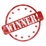 Red Weathered Winner Stamp Circle and Stars Royalty Free Stock Photo