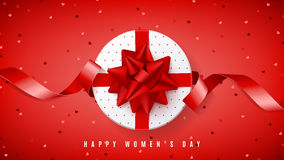 Red web banner for Happy Women`s Day Stock Image