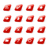 Red web buttons. Set of 3d red square buttons with web icons Stock Photos