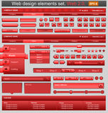 Red web design elements set Royalty Free Stock Photography