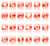 Red web icons. Red web and computer icons on white vector illustration