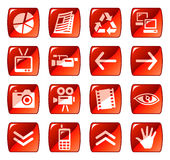 Red web icons / buttons 4. Set of red vector buttons with web icons. Part four Stock Images