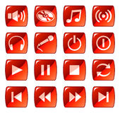 Red web icons / buttons 5 Stock Photos