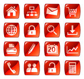 Red web icons / buttons royalty free illustration