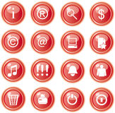Red web icons, buttons Stock Images