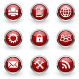Red web icons set Stock Photography
