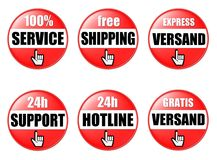 Red web page buttons. Set of six red web page buttons with pointing hands for online shopping Stock Image