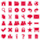 Red Web Stickers Icons [1]. Set of 36 website and application stickers icons isolated on white background. Red Web Stickers Icons – Part 1: there are 144 icons Royalty Free Stock Photo