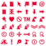 Red Web Stickers Icons [2]. Set of 36 website and application stickers icons isolated on white background. Red Web Stickers Icons – Part 2: there are 144 icons Stock Image
