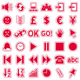 Red Web Stickers Icons [3] stock illustration
