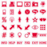 Red Web Stickers Icons [4]. Set of 36 website and application stickers icons isolated on white background. Red Web Stickers Icons – Part 4: there are 144 icons Royalty Free Stock Images