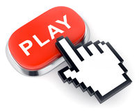 Red web video button Play and hand shaped cursor Stock Photography