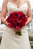 Red wedding bouquet. A bride holding her red wedding bouquet of flowers Royalty Free Stock Photography