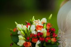Red wedding bouquet with gold rings Royalty Free Stock Image