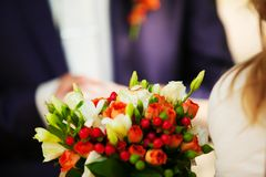 Red wedding bouquet. With rings Royalty Free Stock Photo