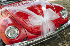 Red wedding car. Ready for bride - detail royalty free stock images