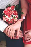 Red wedding embracement Royalty Free Stock Images