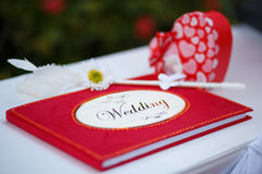 Red wedding guess book. The red wedding guess book Stock Images