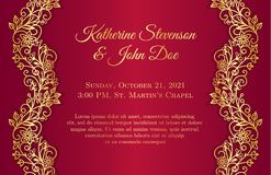 Red wedding invitation with golden floral borders. On sides Stock Images
