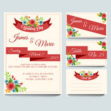 Red Wedding Invitation Pack. A set of invitation card with floral and red theme Royalty Free Stock Photo