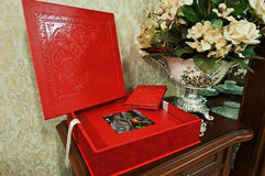 Red wedding photo book Stock Photo