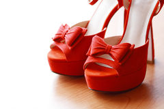 Red wedding shoes Royalty Free Stock Photography