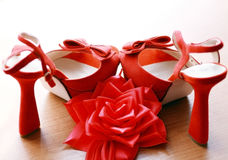 Red wedding shoes Stock Photo