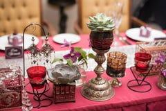 Red wedding table Stock Photos