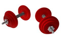 Red weightlifting weights - dumbells Stock Images