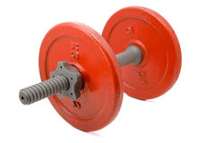 Red weights for fitness. Metal red weights for fitness Royalty Free Stock Images