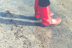 Red wellies Stock Photography