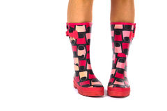 Red Wellingtons on a White Isolated Background Royalty Free Stock Photos