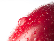 Red wet apple with big droplet, macro shot Stock Images