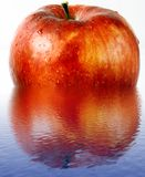 Red wet apple in a water Stock Photos