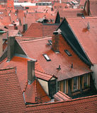 Red wet tile roofs Royalty Free Stock Photos