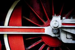 Red wheel. Detail of a wheel of an old steam locomotive Royalty Free Stock Photo