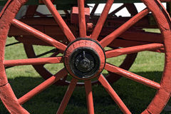 Red wheel of ancient wagon Stock Images