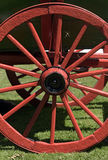 Red wheel of ancient wagon Stock Photo