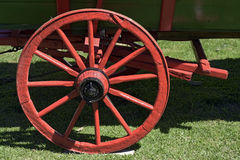 Red wheel of ancient wagon Royalty Free Stock Photos