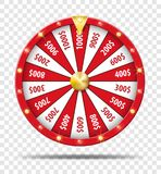 Red Wheel Of Fortune isolated on transparent background. Casino lottery luck game. Win fortune Wheel roulette. Vector
