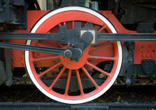 Red wheel of old steam train Stock Photography