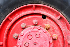 Red Wheel truck. Royalty Free Stock Photography