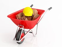 Red wheelbarrow with brick and hard cap Stock Images