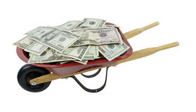 Red Wheelbarrow Full of Money Stock Photos