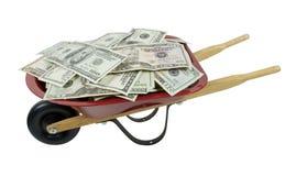 Red Wheelbarrow Full of Money Stock Photos