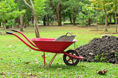 Red wheelbarrow in garden Stock Image