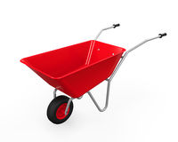 Red Wheelbarrow. Isolated on white background. 3D render Stock Photography